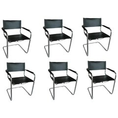 Set of 6 Italian Cantilever Armchairs by Mart Stam for Fasem