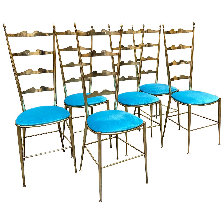 Set of 6 Italian Chiavari Ladder Back Chairs, 1950s