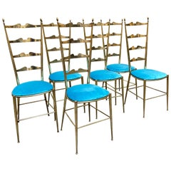 Set of 6 Italian Chiavari Ladder Back Chairs, 1950s