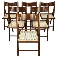 Set of 6 Italian Folding Chairs with Rattan, 1980's