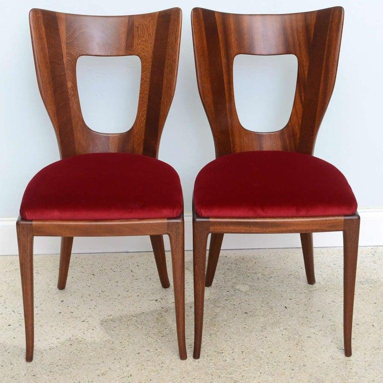 Mid-20th Century Set of 6 Italian Modern Walnut Dining Chairs, Borsani For Sale