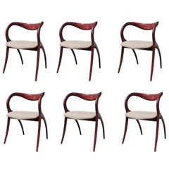 Set of 6 Italian Organic Sculptural Cherrywood Star Chairs by A. Sibau