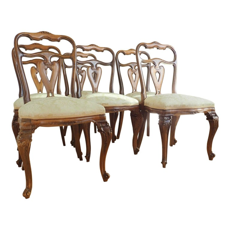 Set of 6 Italian Rococo Dining Room Chairs For Sale 5