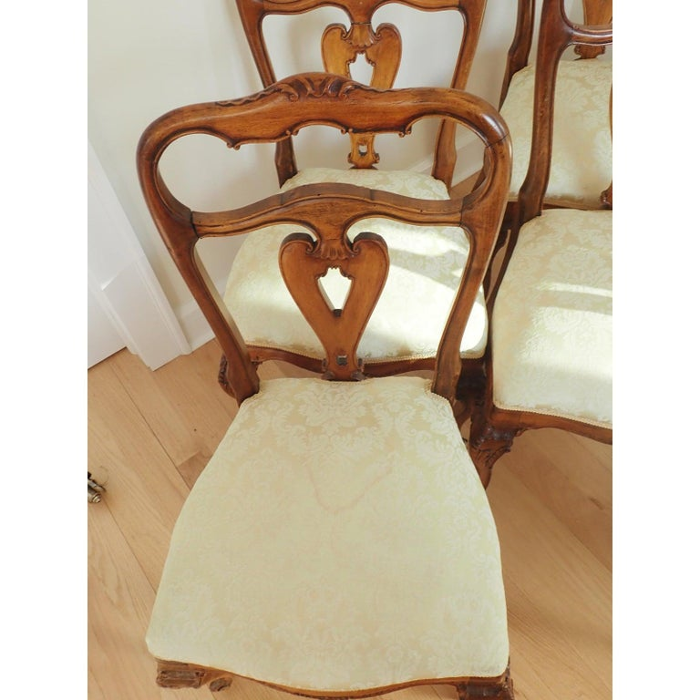 19th Century Set of 6 Italian Rococo Dining Room Chairs For Sale