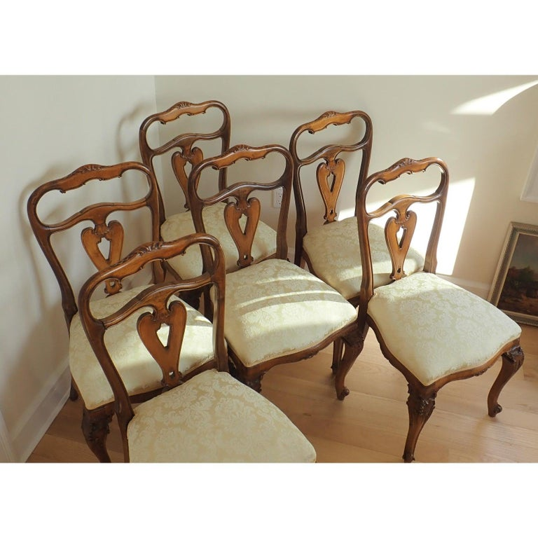 Set of 6 Italian Rococo Dining Room Chairs For Sale 2