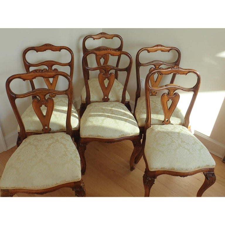 Set of 6 Italian Rococo Dining Room Chairs For Sale 3