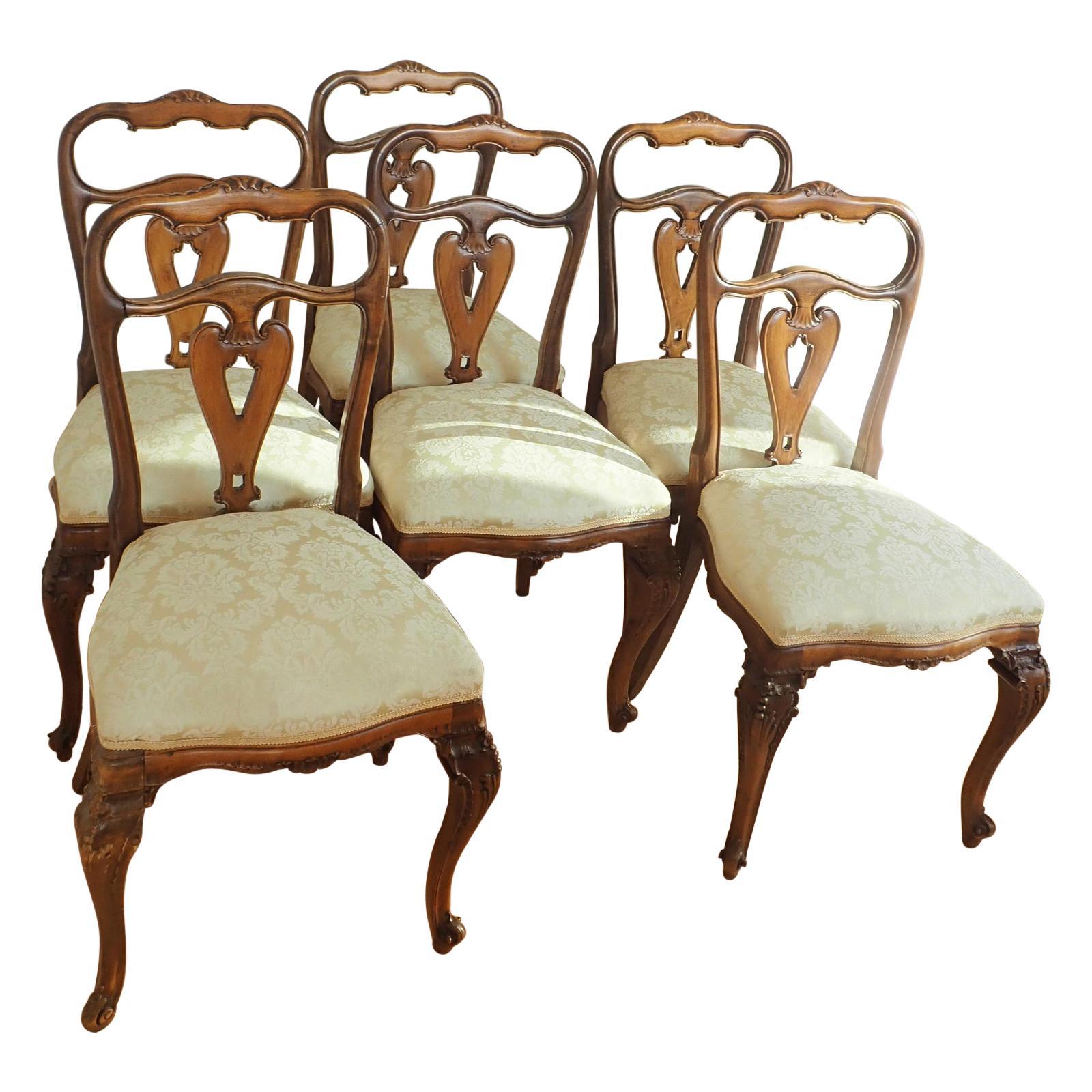 6 Italian Walnut Rococo Dining Room Chairs