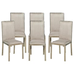 Set of 6 Italian Vintage Mid-Century Modern Brass Dining Chairs