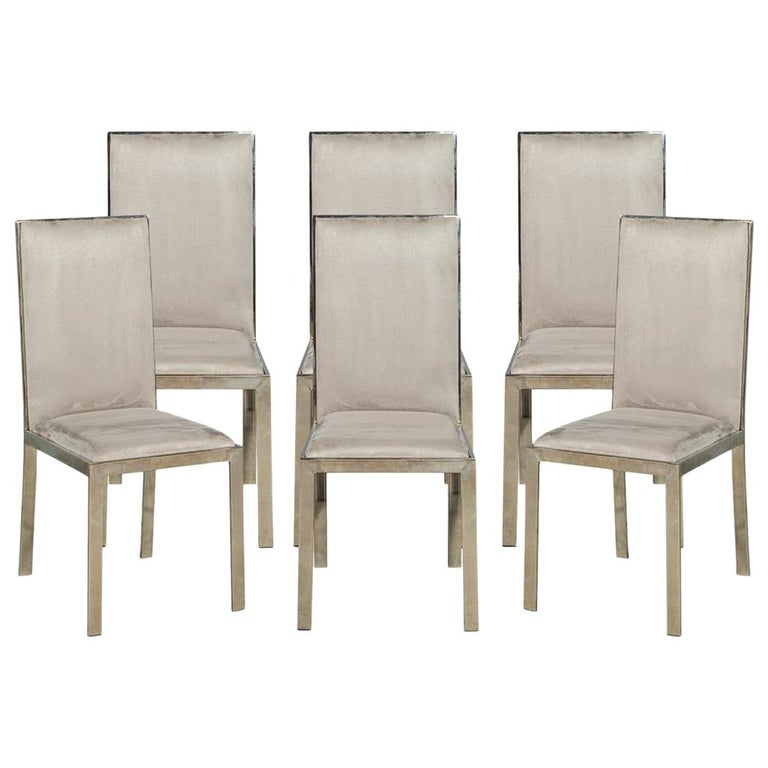 Remarkable Set Of 6 Italian Vintage Mid Century Modern Brass Dining Chairs Theyellowbook Wood Chair Design Ideas Theyellowbookinfo