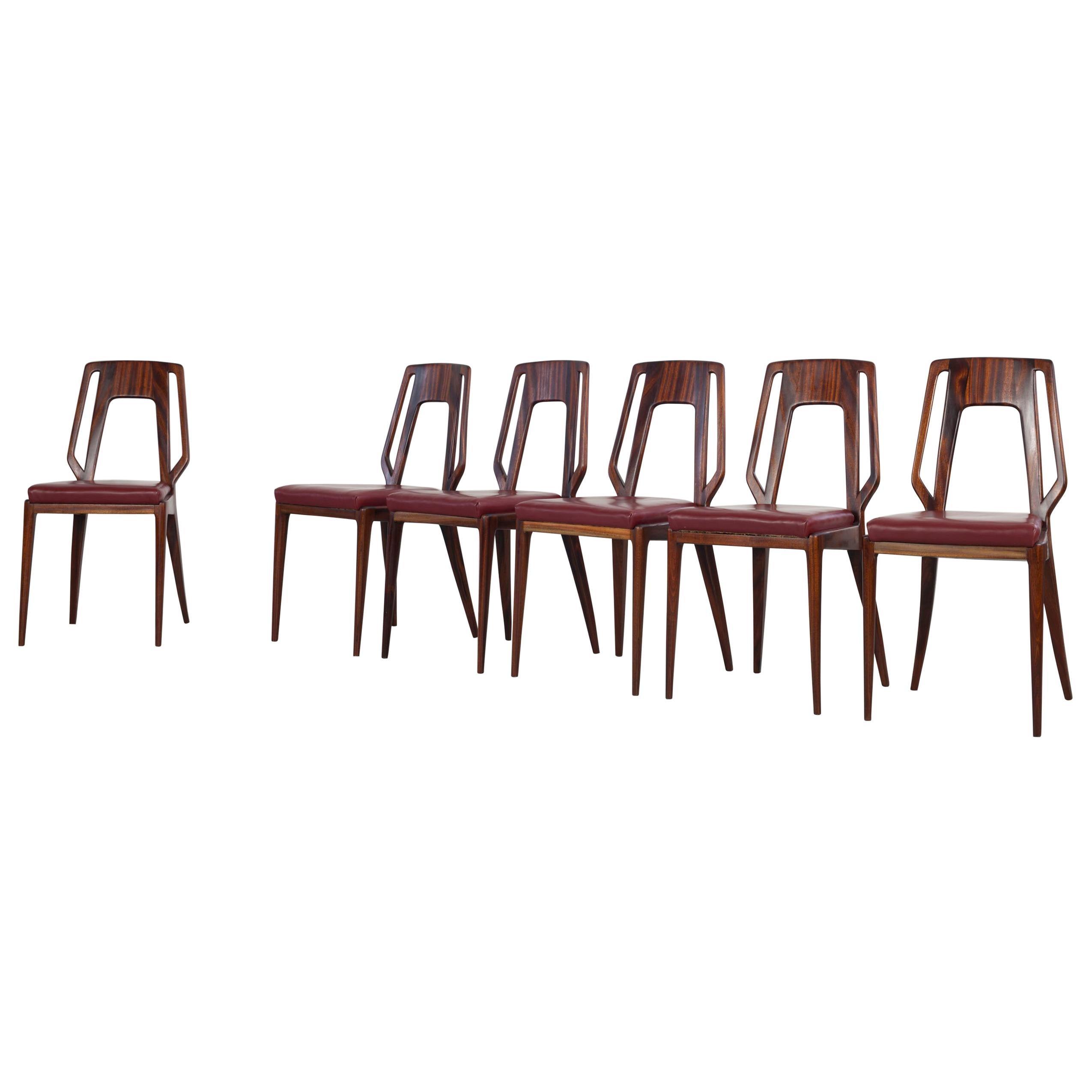 Set of 6 Italian Vittorio Dassi Dining Room Chairs, 1950s