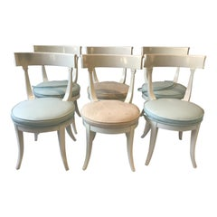 Set of 6 Italian White Lacquered Classical Dining Chairs from the 1950s