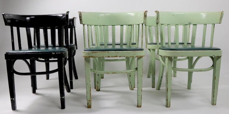 Wonderful set of 6 bentwood cafe chairs made by J J Kohn, design attributed to Josef Hoffmann. Chairs bear shipping label dated 1954. This set is in later paint, four are pale green, two are black, as shown. Structurally sound and sturdy, usable as