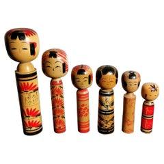"""Edo Style Japanese Dolls """"Kokeshi"""", set of 6"""