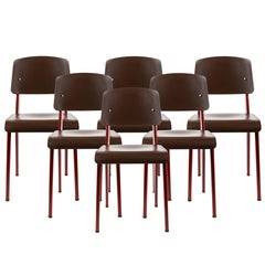 Set of 6 Jean Prouvé Standard SP Chairs in Teak Brown and Red for Vitra