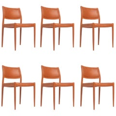 Set of 6 J.L. Møller Model 80 Dining Chairs by Niels Møller in Leather