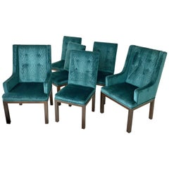 Set of 6 John Widdicomb Tufted Textured Velvet Parsons Dining and Armchairs