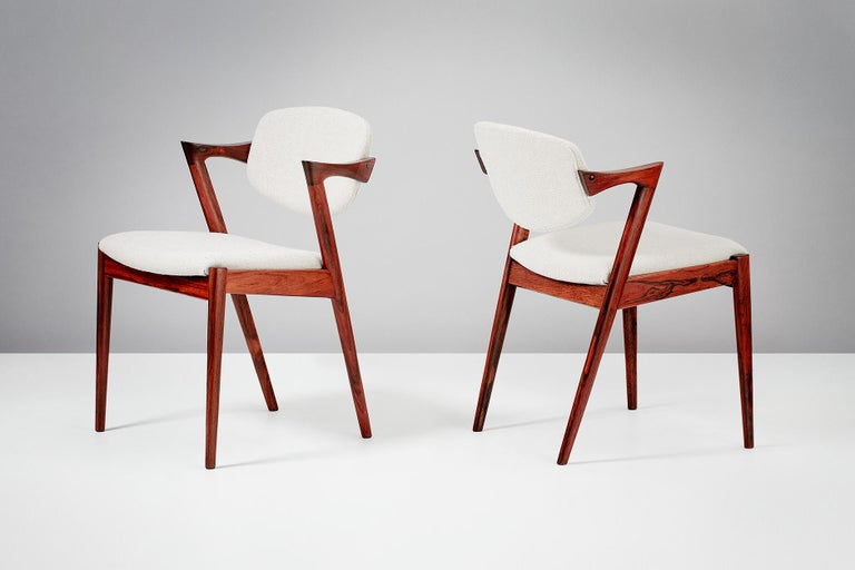 Set of 6 Kai Kristiansen Model 42 Dining Chairs, Rosewood For Sale 4