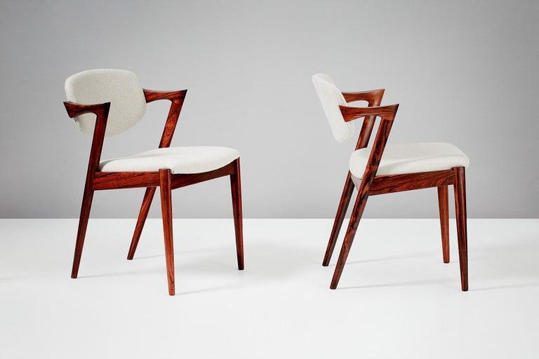 Scandinavian Modern Set of 6 Kai Kristiansen Model 42 Dining Chairs, Rosewood For Sale