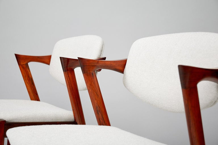 Danish Set of 6 Kai Kristiansen Model 42 Dining Chairs, Rosewood For Sale