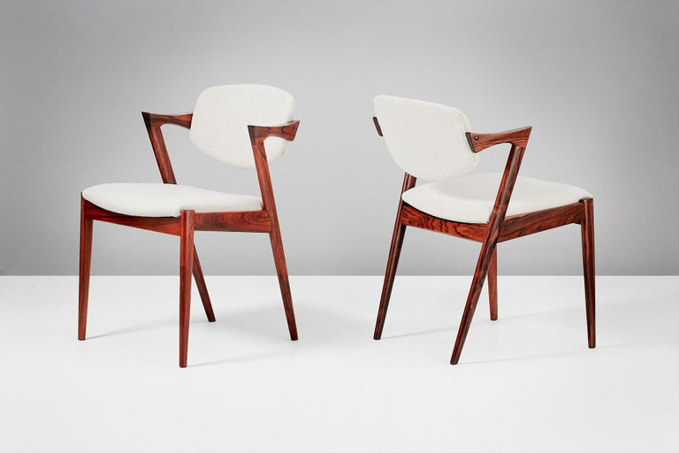 Set of 6 Kai Kristiansen Model 42 Dining Chairs, Rosewood In Excellent Condition For Sale In London, GB