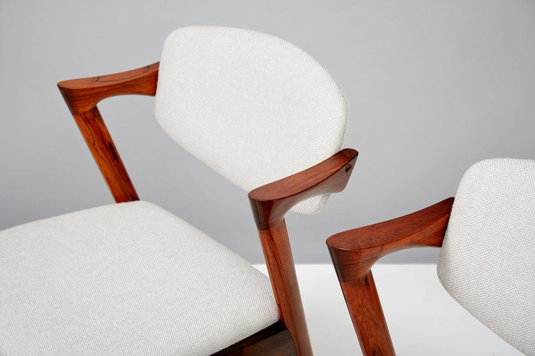 Mid-20th Century Set of 6 Kai Kristiansen Model 42 Dining Chairs, Rosewood For Sale