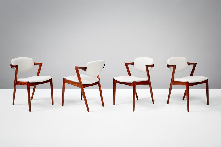 Set of 6 Kai Kristiansen Model 42 Dining Chairs, Rosewood For Sale 1