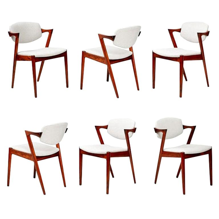 Set of 6 Kai Kristiansen Model 42 Dining Chairs, Rosewood For Sale