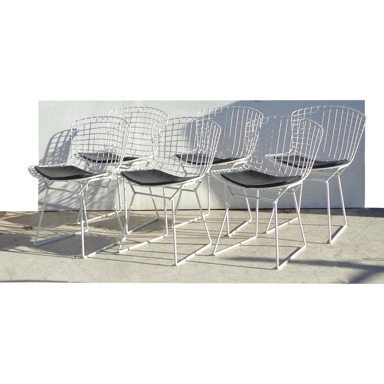 Mid-Century Modern Set of 6 Knoll Bertoia Side Chairs For Sale