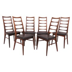Set of 6 Koefoeds Hornslet Danish Rosewood Ladderback Dining Chairs, circa 1960s
