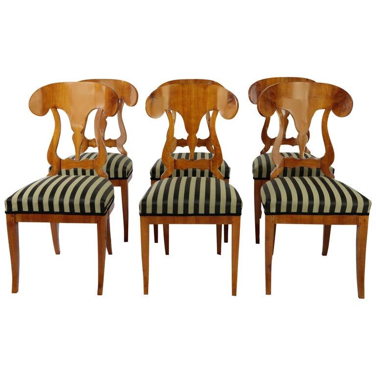 Set of 6 Late Biedermeier Period Chairs, Germany Cherrywood Veneer For Sale