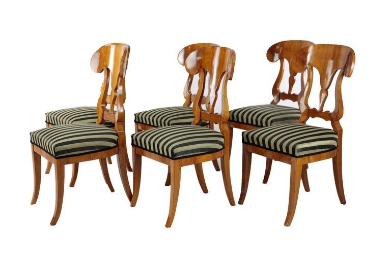 Set of 6 Late Biedermeier Period Chairs, Germany Cherrywood Veneer In Good Condition For Sale In Muenster, NRW