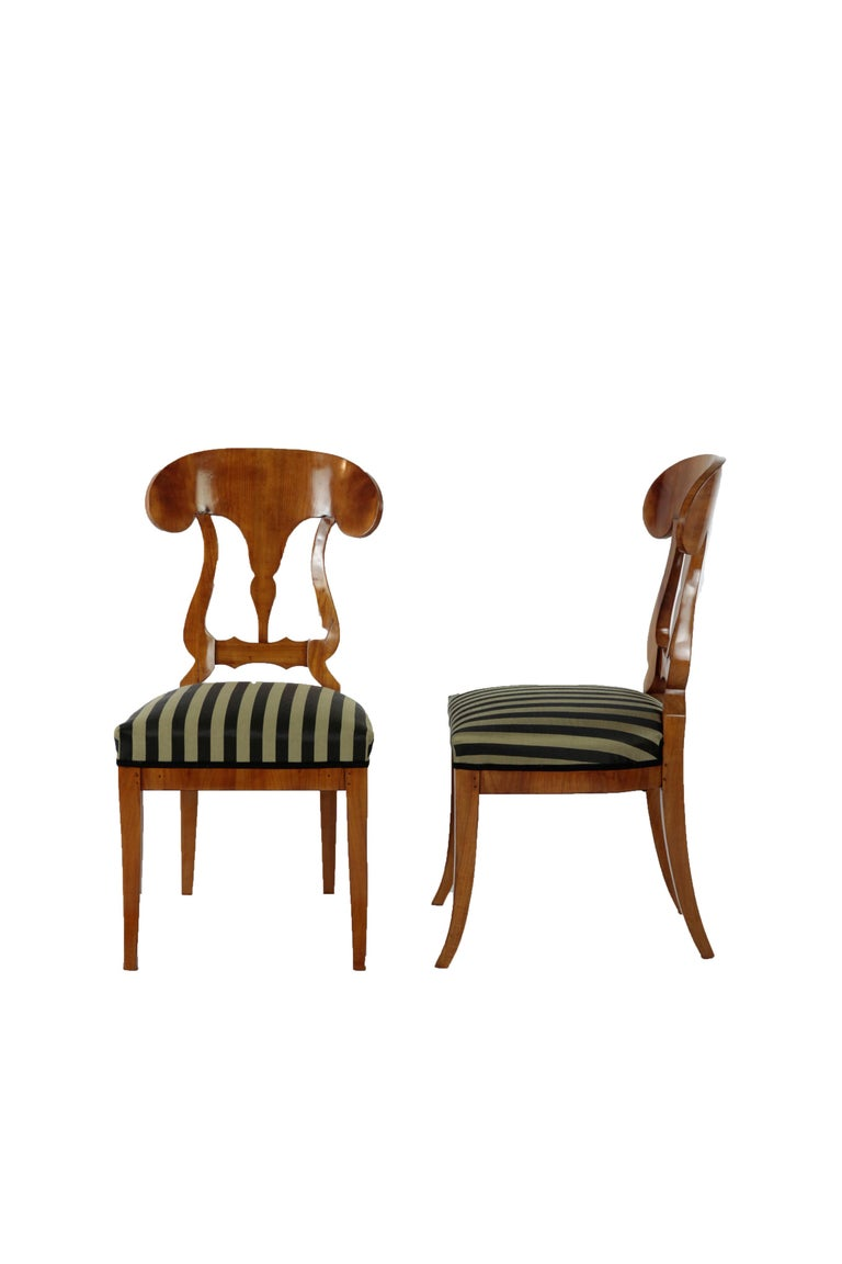 Mid-19th Century Set of 6 Late Biedermeier Period Chairs, Germany Cherrywood Veneer For Sale