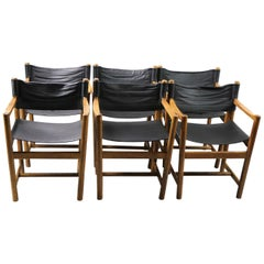 Set of 6 Leather and Oak Dining Chairs by Ditte & Adrian Heath FDB Mobler