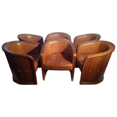 Set of 6 Leather and Walnut Barrel Back Lounge Dining Chairs