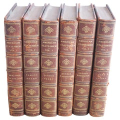 Set of 6 Leather Bound American Statesmen Antique Books