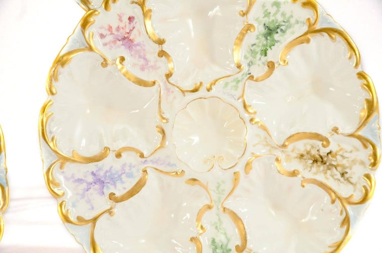 Aesthetic Movement Set of 6 Limoges S & S Oyster Plates With Hand Painted Seaweed & Gilt Decoration For Sale