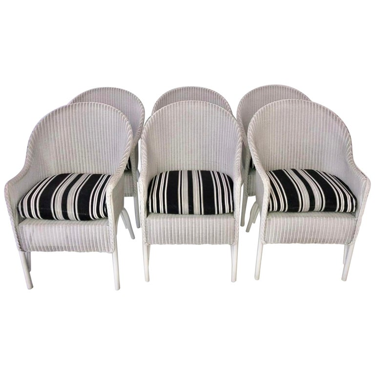 Set of 6 Lloyd Loom Dining Chairs For Sale