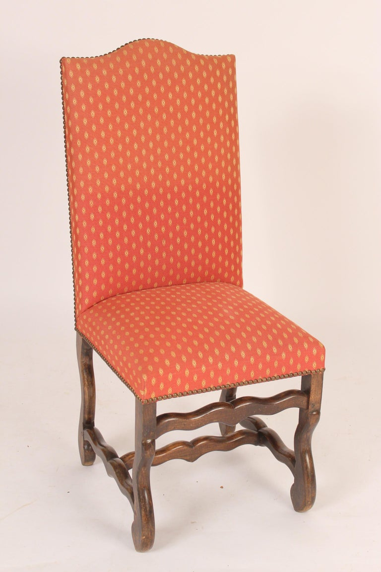 Set of 6 Louis XIV beech wood dining room chairs, mid-20th century. With mortise and tenon construction.