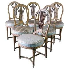 Set of 6 Maison Jansen Style Louis XVI Balloon Back Dining Chairs