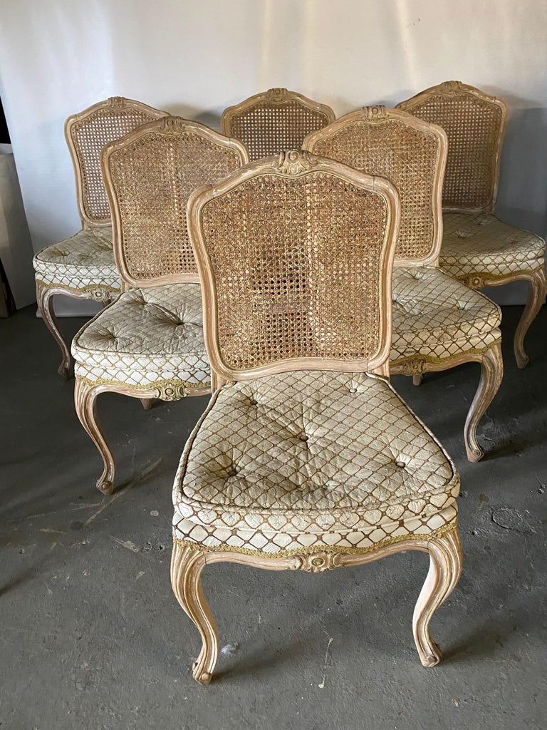 Set of 6 antique French Louis XV Provincial style painted dining chairs, upholstered seats with caned backs. Paint has mostly been lost but leaving it with great rustic country charm that is hard to duplicate. Chairs have carved crest detail on seat