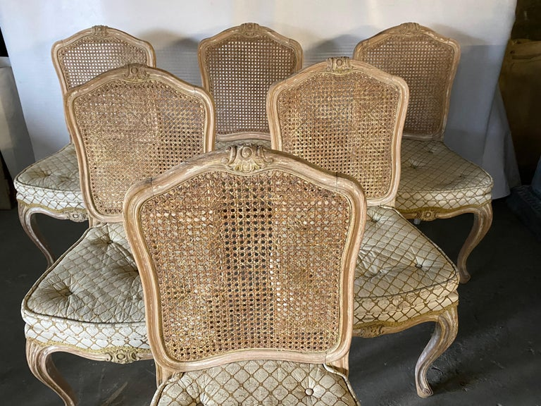 French Set of 6 Louis XV Style Painted Dining Chairs For Sale