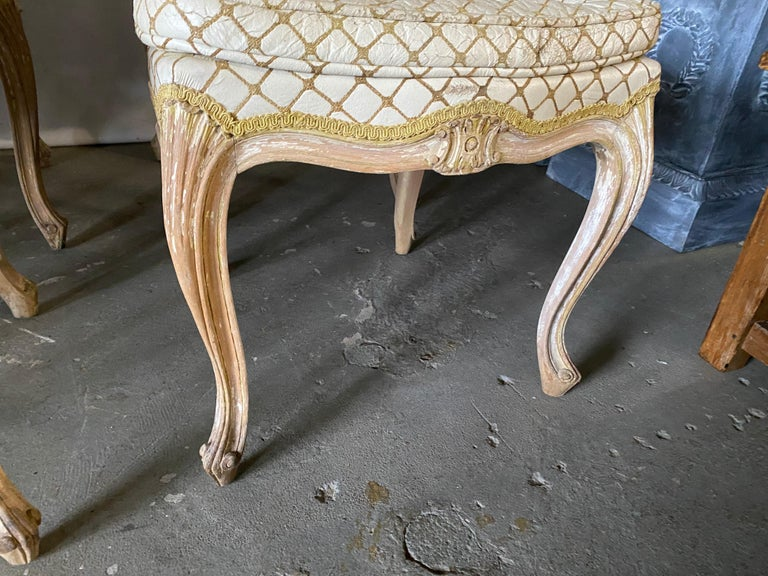 Wood Set of 6 Louis XV Style Painted Dining Chairs For Sale