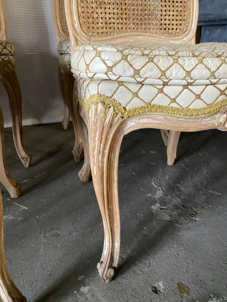 Set of 6 Louis XV Style Painted Dining Chairs For Sale 1