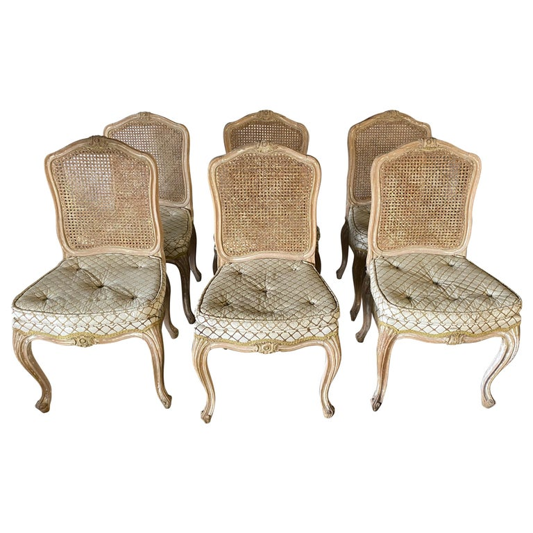 Set of 6 Louis XV Style Painted Dining Chairs For Sale