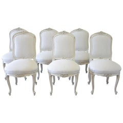 Set of 6 Louis XV Style White Painted French Linen Upholstered Dining Chairs