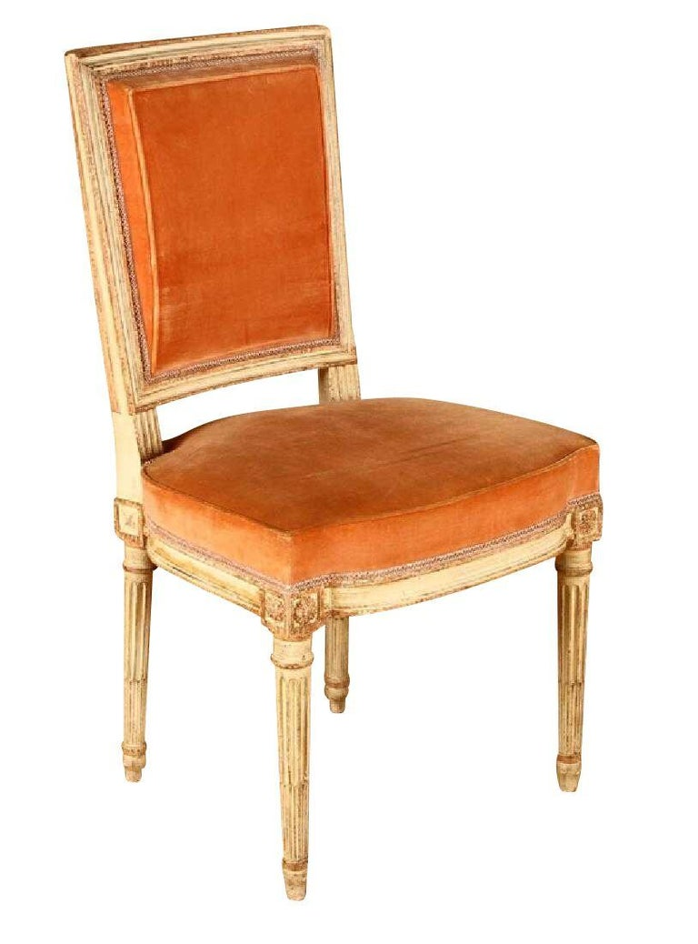 Elegant set of 6 Louis XVI style Parisian dining chairs with peach-colored velvet high quality upholstery. Stylish and comfortable, from a Parisian apartment, possibly Jansen.
