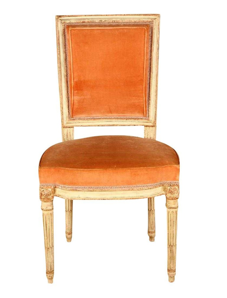 Mid-Century Modern Set of 6 Louis XVI Parisian Dining Chairs For Sale