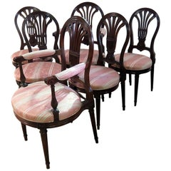 Set of 6 Louis XVI Style Dining Chairs Attributed to Jansen