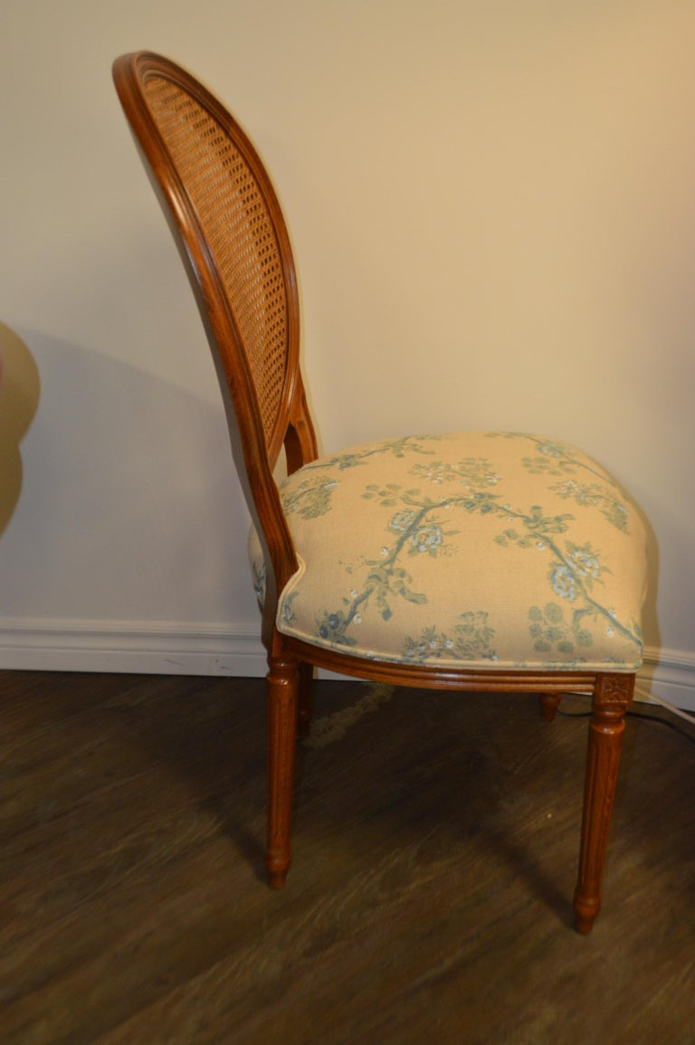 Set of 6 Louis XVI Style Oval and Caned Back Dining Chairs Seat in Printed Linen For Sale 4