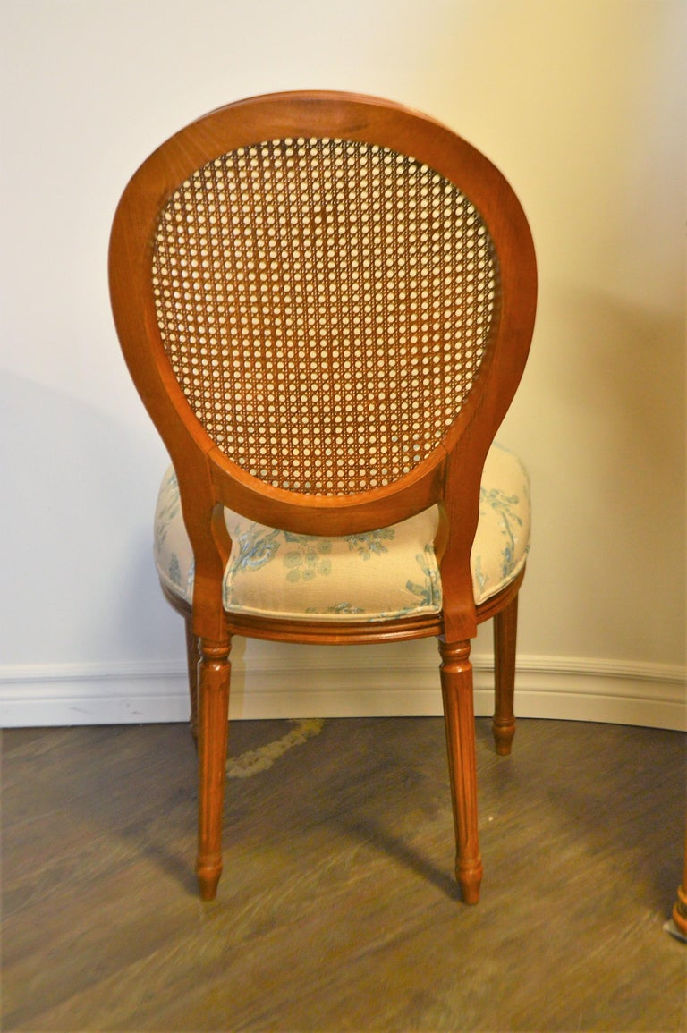 Set of 6 Louis XVI Style Oval and Caned Back Dining Chairs Seat in Printed Linen For Sale 5